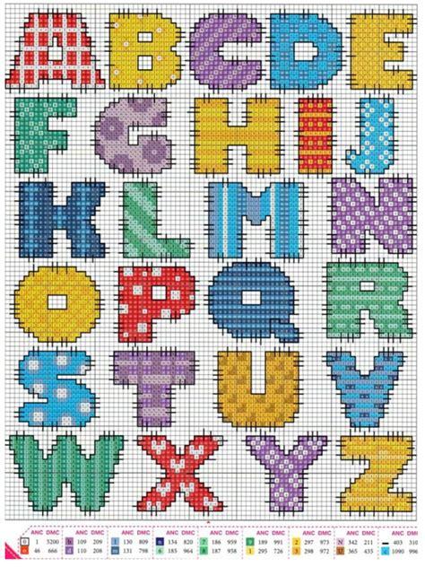 lettere dell alfabeto da ricamare punto croce schemi per alfabeti