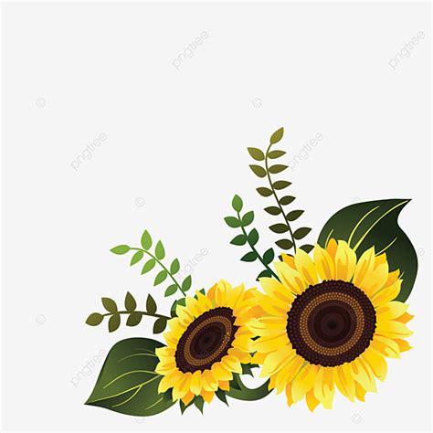 sunflower vector  corner design floral flower spring png  vector  transparent