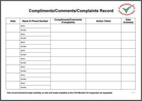 Customer Complaint Book Template Uk by Complaints Register Template Images Template Design Ideas