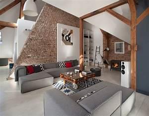 Mur Brique Salon : salon moderne avec murs en briques ~ Zukunftsfamilie.com Idées de Décoration