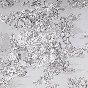 Toile De Jouy : tissu d 39 ameublement toile de jouy au m tre gris et noir ~ Teatrodelosmanantiales.com Idées de Décoration