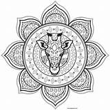 Mandala Coloring Pages Giraffe Mandalas Animals Printable Leaves Patterns Adults Print Head Colors Animal Adult Justcolor Appropriate Most Lovely Its sketch template