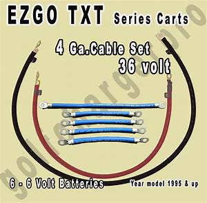 Ezgo Txt Golf Cart 36 Volt 4 Gauge Heavy Duty Battery Cable Wiring Set