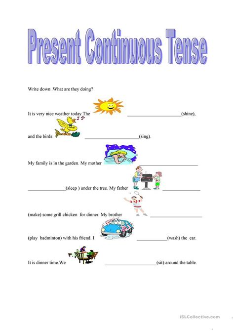 present continuous tense worksheet  esl printable