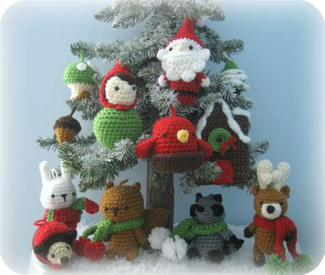 amigurumi crochet woodland christmas ornament pattern set