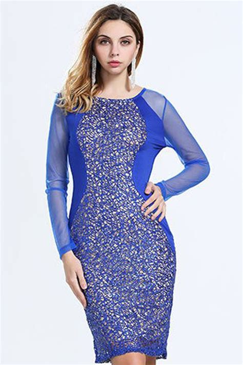 TOMCARRY WOMEN SHEER LONG SLEEVES LACE DECORATED PENCIL DRESS BLUE - Tomcarry