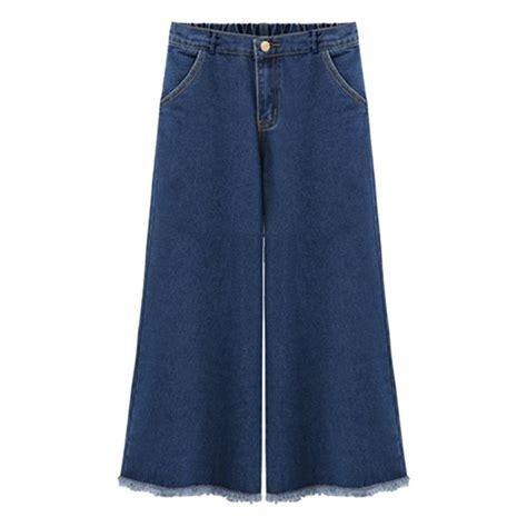 Frayed Wide Leg s elastic waist wide leg crop frayed hems