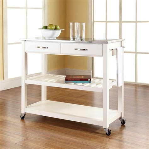 kitchen island cart with stainless steel top crosley white kitchen cart with stainless steel top