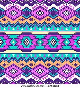 neon multicolor tribal Navajo vector seamless pattern
