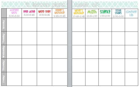 lesson plan book template printable elementary organization april 2013