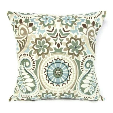Throw Pillow Cover Paisley Floral Blue Brown Ivory Aqua