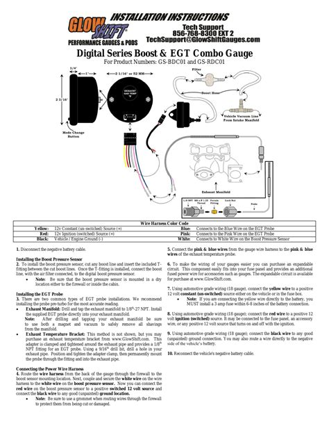glowshift boost egt combo gauge user manual  pages
