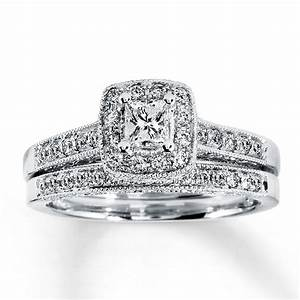 kay diamond bridal set 1 2 ct tw princess cut 14k white gold With wedding ring sets princess cut white gold