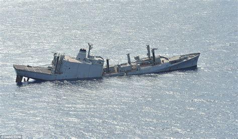 German U Boat Niagara Falls by Dramatic Moment U S Navy Ship Is Sunk By Torpedo From