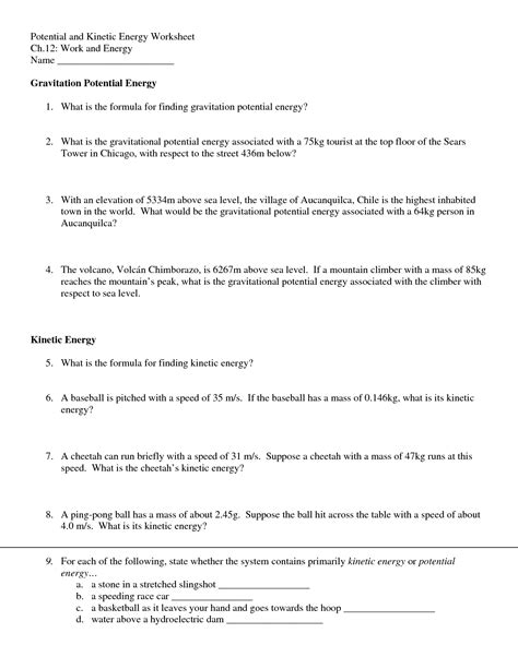 11 best images of potential and kinetic energy worksheets