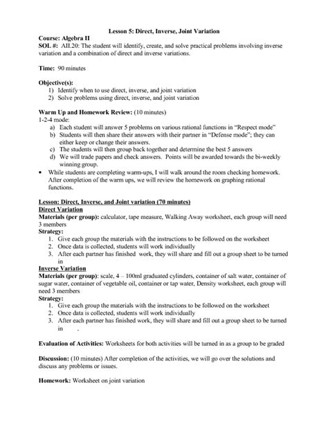 Worksheets Direct Variation Worksheets Opossumsoft Worksheets And Printables