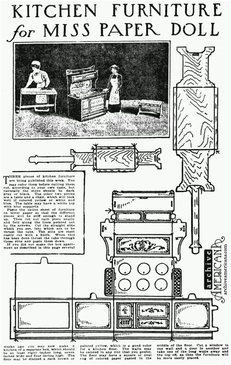 Kitchen furniture for Miss Paper Doll (1911) - Click Americana