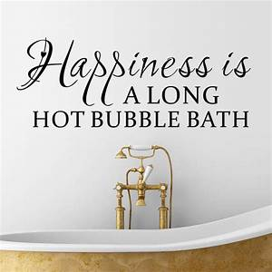 vinyl wall sticker happiness is a long hot bubble bath With words related to bathroom