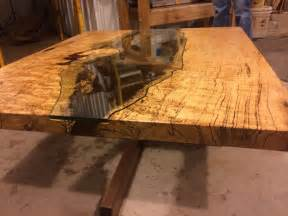 table of spalted maple live edge slab and hand cut glass cut glass coffee and glass