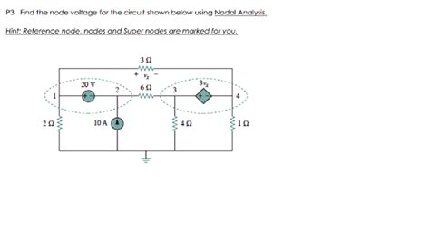 Solved Find The Node Voltage For Circuit Shown Below
