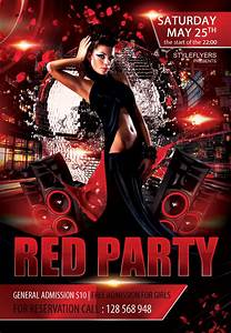 free red party flyer psd template styleflyercom club With nightclub flyers templates