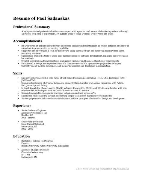 professional resume summary 2016 slebusinessresume