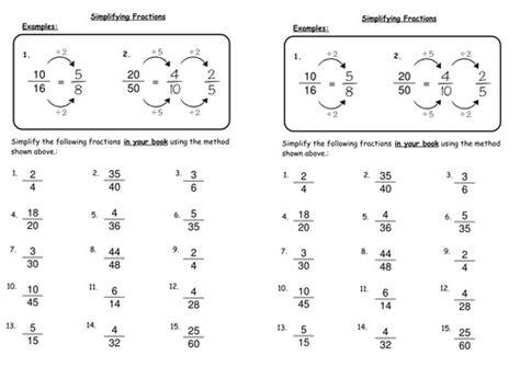 simplifying fractions worksheets homeschooldressage