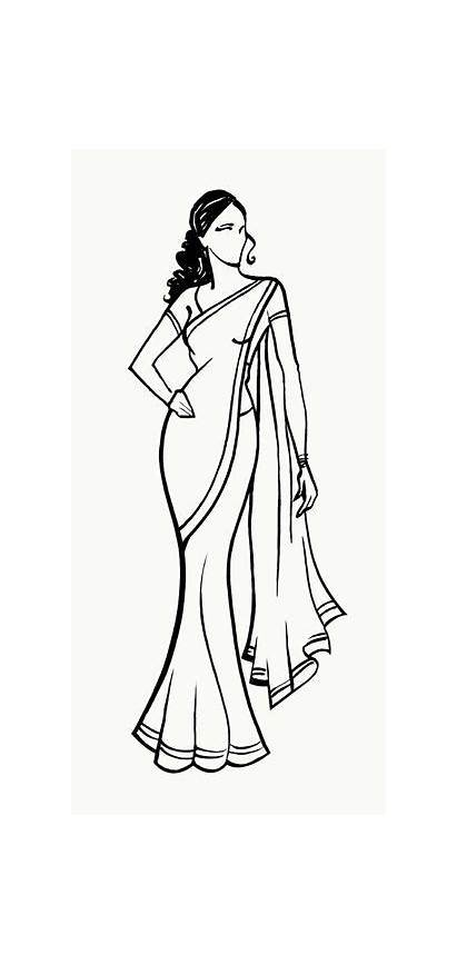 Saree Coloring Clipart Indian Drawing Sketches Sketch