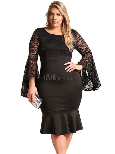 size dress women white lace long bell sleeve ruffles