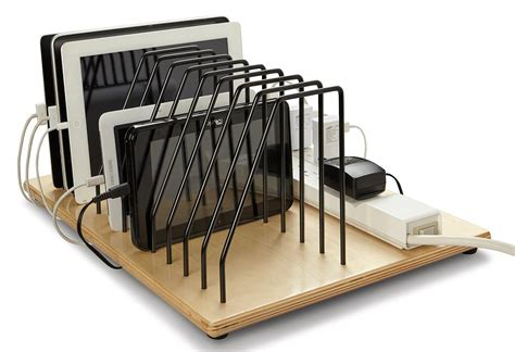 desktop tablet charging station adjustable pocket dividers