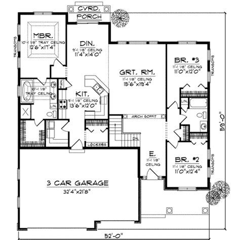 Traditional Style House Plan  3 Beds 2 Baths 1867 Sqft