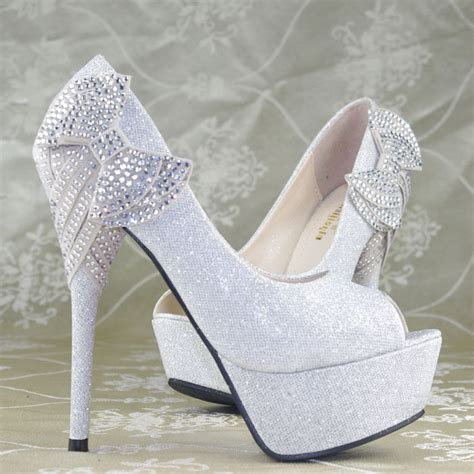 Wedding High Heels by Shimmer Silver Bows Platform High Heels Princess