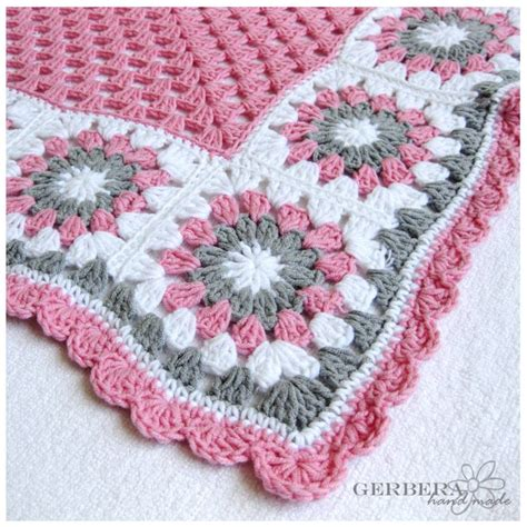 crochet baby blanket crochet baby blanket girl cottage style gray pink and white color for baby 80 cm 31