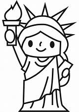 Liberty Statue Coloring Drawing Funny Simple Printable Draw Drawings Side Face sketch template