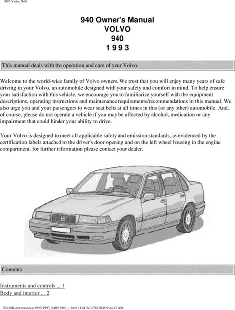 free auto repair manuals 1992 volvo 940 electronic throttle control 93 volvo 940 1993 owners manual download manuals technical