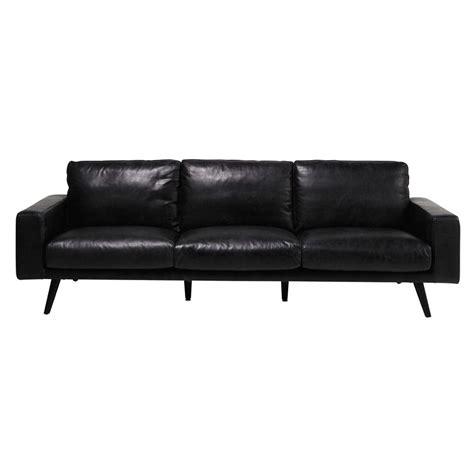 canapé 4 places cuir canapé 4 places en cuir noir clark maisons du monde