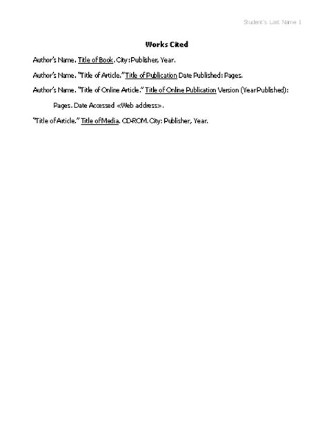 mla works cited template works cited list in mla format reports form templates