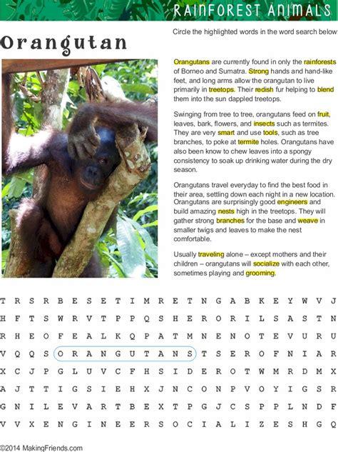 fact sheet  word search  orangutan habitat