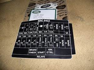 Land Rover Xd  Fuse Box Sticker  Rrc8422
