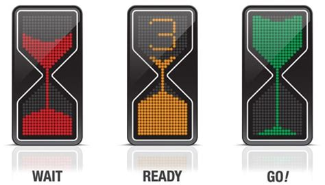 zandloper stoplicht geeft aan hoe lang je nog moet wachten