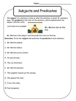 Subject And Predicate Worksheet  Mr Morton By Kelly Malloy Tpt