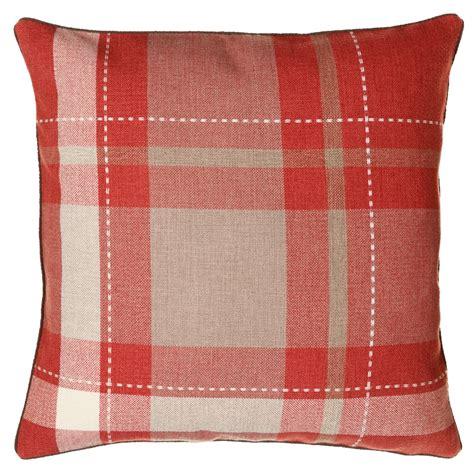 tara classic woven tartan cushion red cushions bm