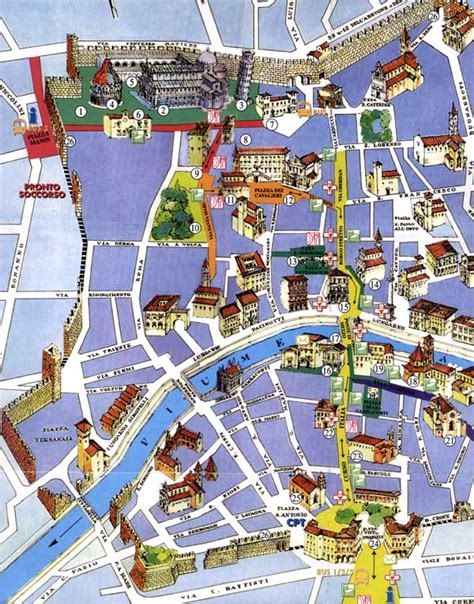 detailed city map of pisa street map