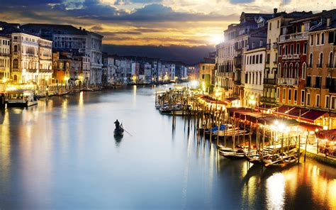 venice city italy sunset lighting wallpapers