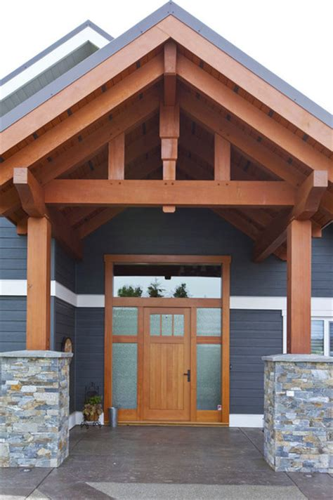 Rustic Living Room Wall Ideas by Timber Frame Entry With Custom Fir Door Craftsman