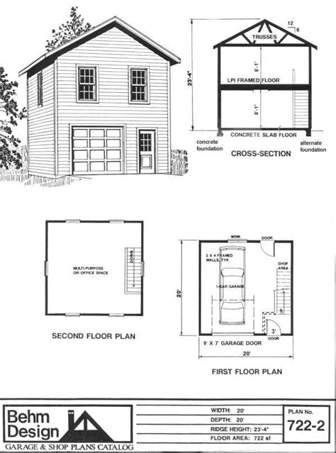 2 floor plans with garage two 1 car garage plan 722 2 by behm design has