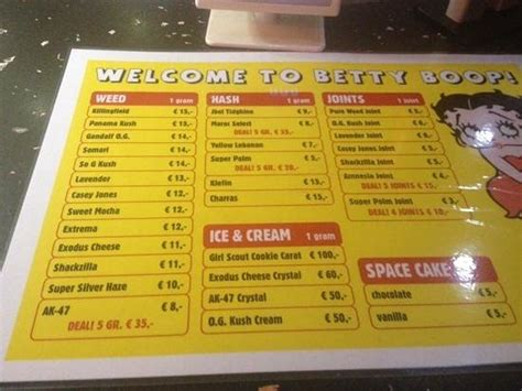 Easiest and smartest way to discover cannabis products and coffee shops according to your taste or gps location. menu - Picture of Betty Boop Coffeeshop, Amsterdam - Tripadvisor