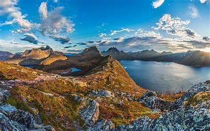 Senja Norway Island Mountain Landscape Autumn Fjord