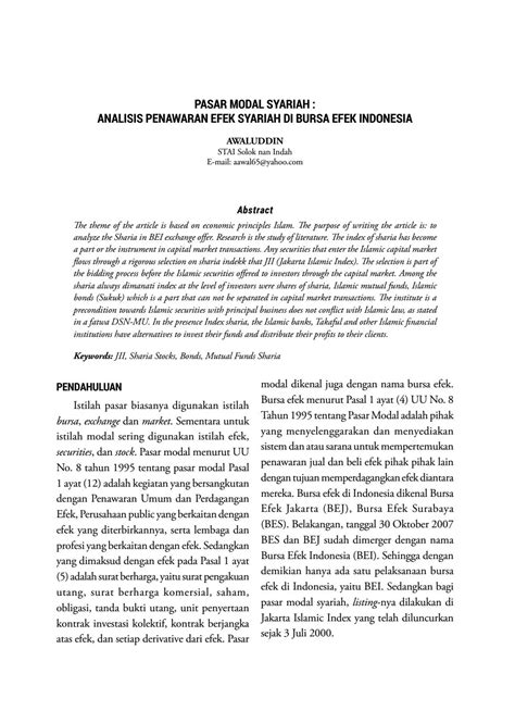 PASAR MODAL SYARIAH : ANALISIS PENAWARAN EFEK SYARIAH DI