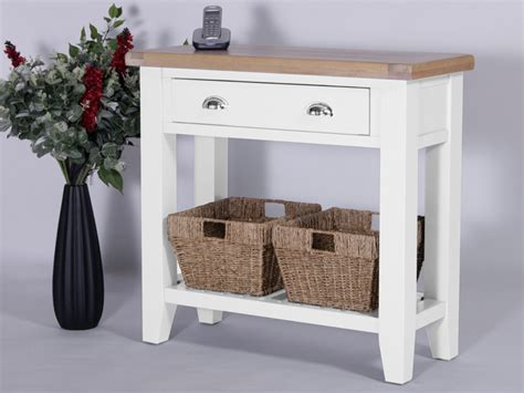white sofa table with baskets console tables solid oak furniture oakea